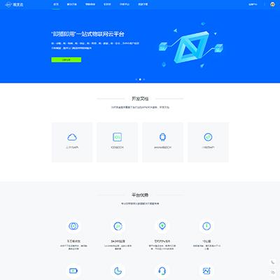 蓝色物联网云服务平台网站HTML模板